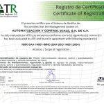 Certificación ISO-14001 otorgada a Automatización y Control Scale S.A. de C.V.