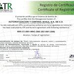 Certificación ISO-9001 otorgada a Automatización y Control Scale S.A. de C.V.