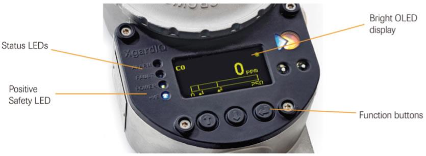 Partes de un detector fijo de gas XgardIQ