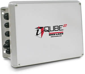 Fotografía de un equipo IQUBE2 usado para monitoreo y diagnóstico de celdas de carga en básculas camioneras