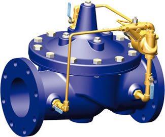 Imagen de una válvula de alivio y sostenedora de presión con dispositivo anticavitación
