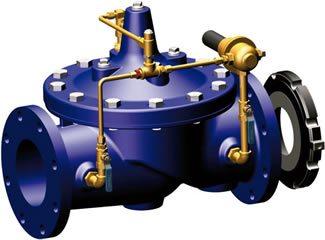 Fotografía de una válvula de control de flujo hidráulica