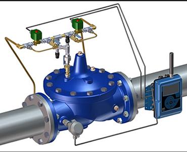 Imagen de una válvula de medición Cla-Val 133-01/633-01 para sistemas SCADA